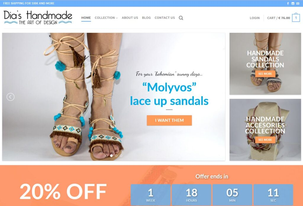 """""""Dia's Handmade"""" welcomes you with 20% OFF on sandals!"""