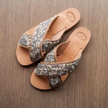 "Handmade Sandals , Bright Strass Stone , Leather sandals ""Alcyone"""