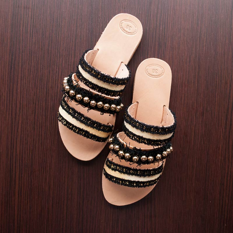 "Night Leather Sandals ""Melinoe"""