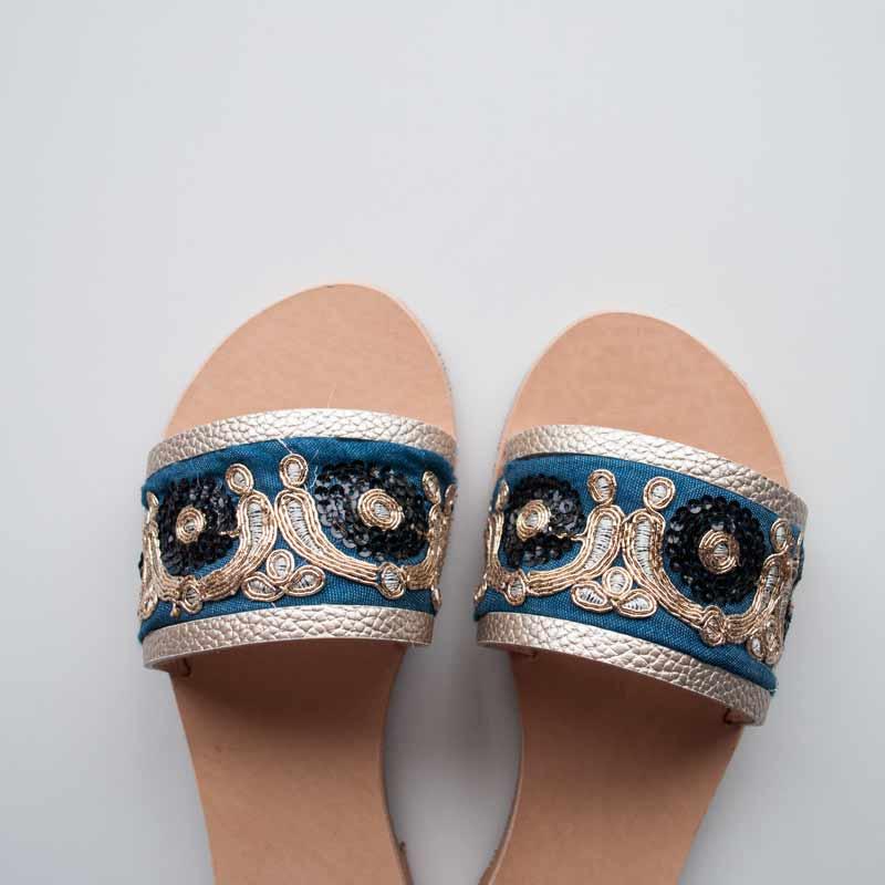 """Ethnic Leather Sandals """"Mythimna"""" main"""