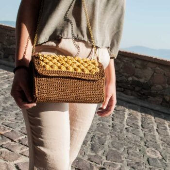 Handmade-Bag,Brown-&-Gold