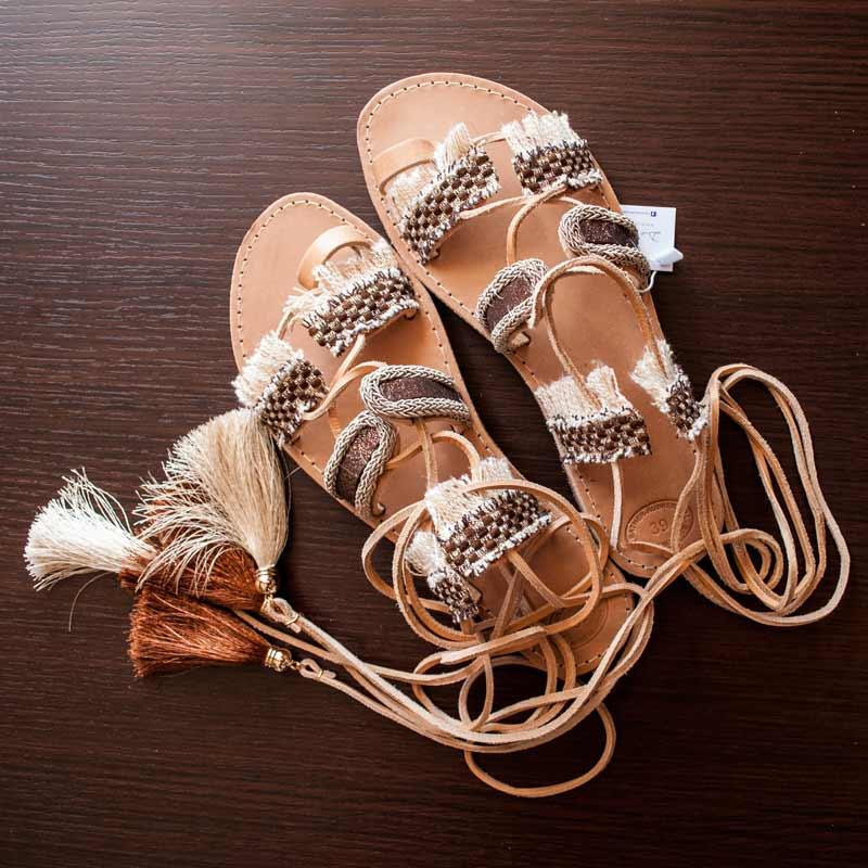 Lace Up-Sandals,Leather-Sandals,Boho-Leukada