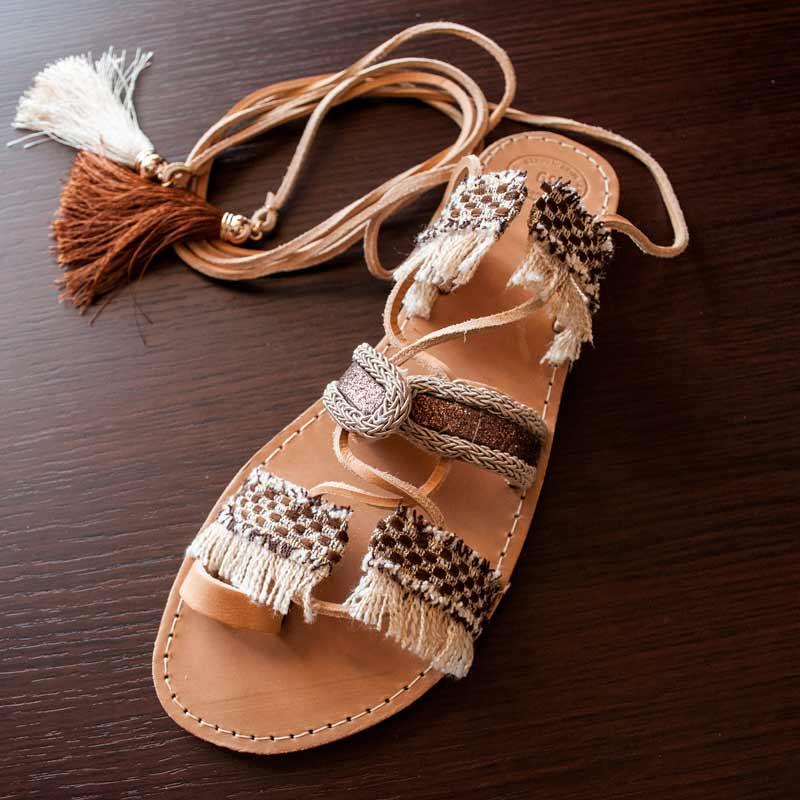 Lace-Up-Sandals,Leather-Sandals,Boho-Leukada
