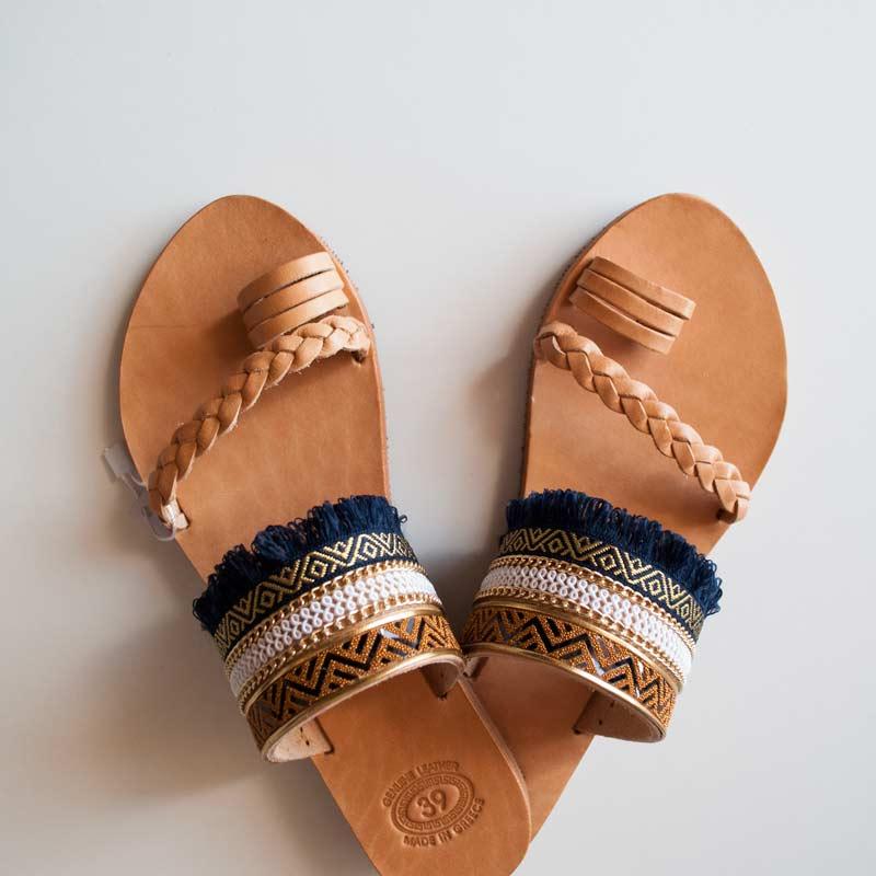 Women's-Sandals,Leather-Sandals,-Milos--front