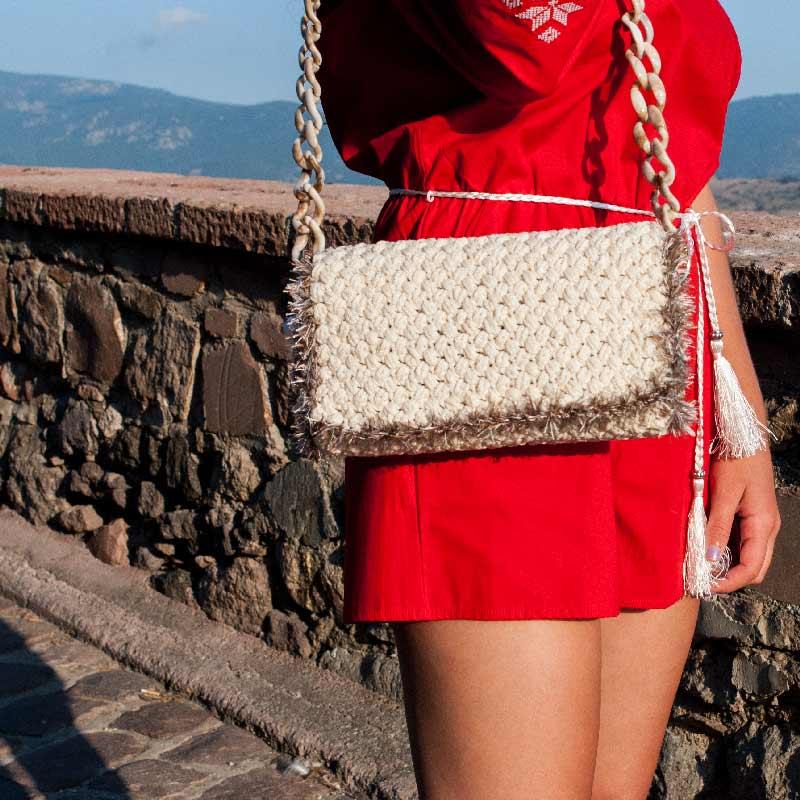 Women Fold Over Handbag, White Colour