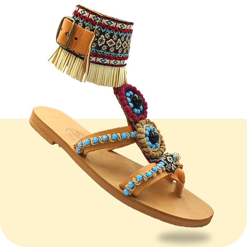 Σανδάλι-Γυναικείο-Amelis-κεντρική2-Sandals - Boho Σανδάλια - Dias Handmade