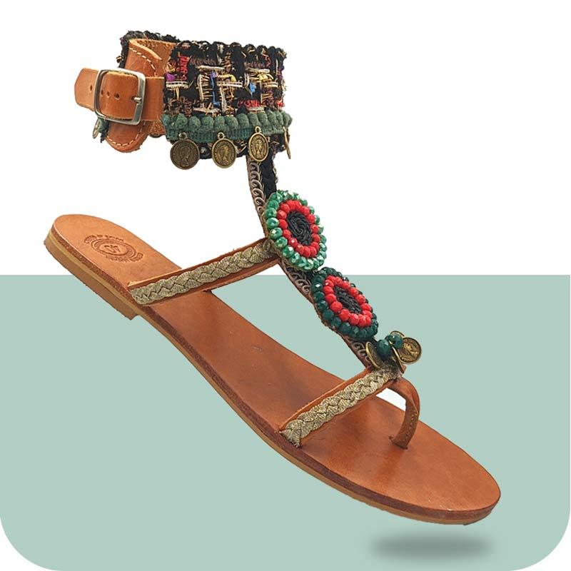 Σανδάλι-Γυναικείο-Aoede-κεντρική2- Ethnic Σανδάλια - Sandals - DiasHandmade