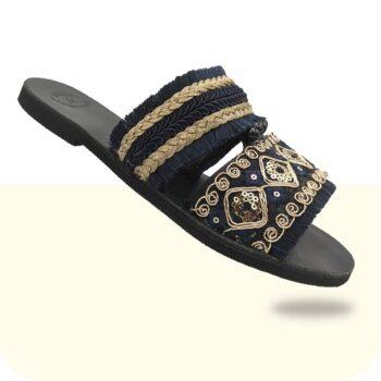 Σανδάλι-Γυναικείο-Clio-κεντρική2-Sandals Μαυρα σανδαλια δερματινα