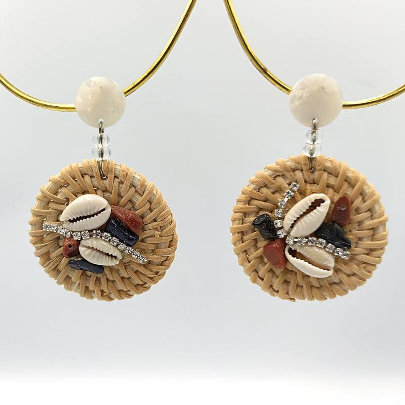Γυναικεία Σκουλαρίκια Ψάθινα Κοράλι 2