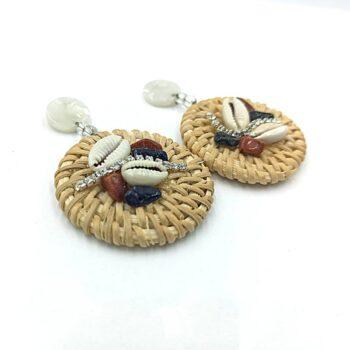 Γυναικεία Σκουλαρίκια Ψάθινα Κοράλι