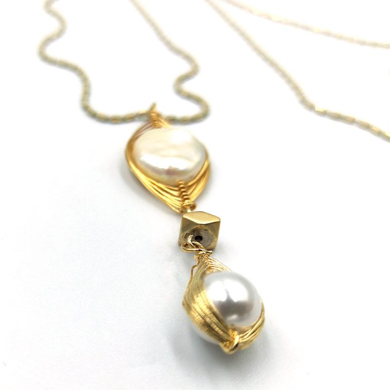 Κολιέ Χρυσό Με Μοτίφ Μαργαριτάρι1