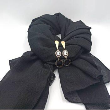 Φουλάρι Κρεπ Μαύρο 1