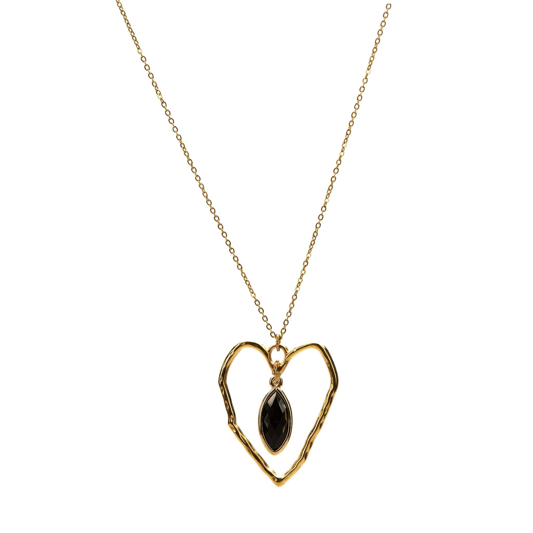 Κολιέ Καρδιά με Γυάλινο Στοιχείο