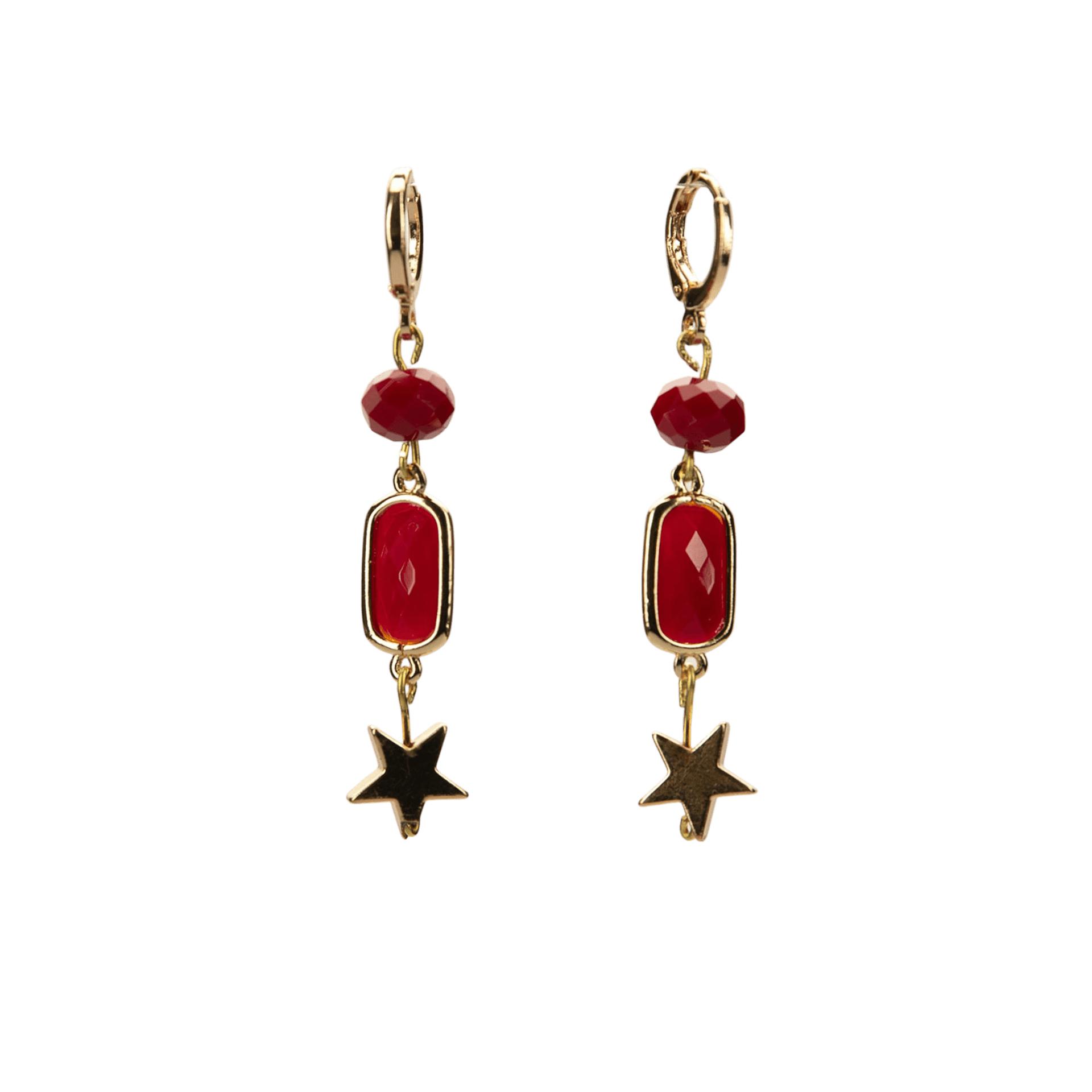 Σκουλαρίκια Κόκκινο με Χρυσό
