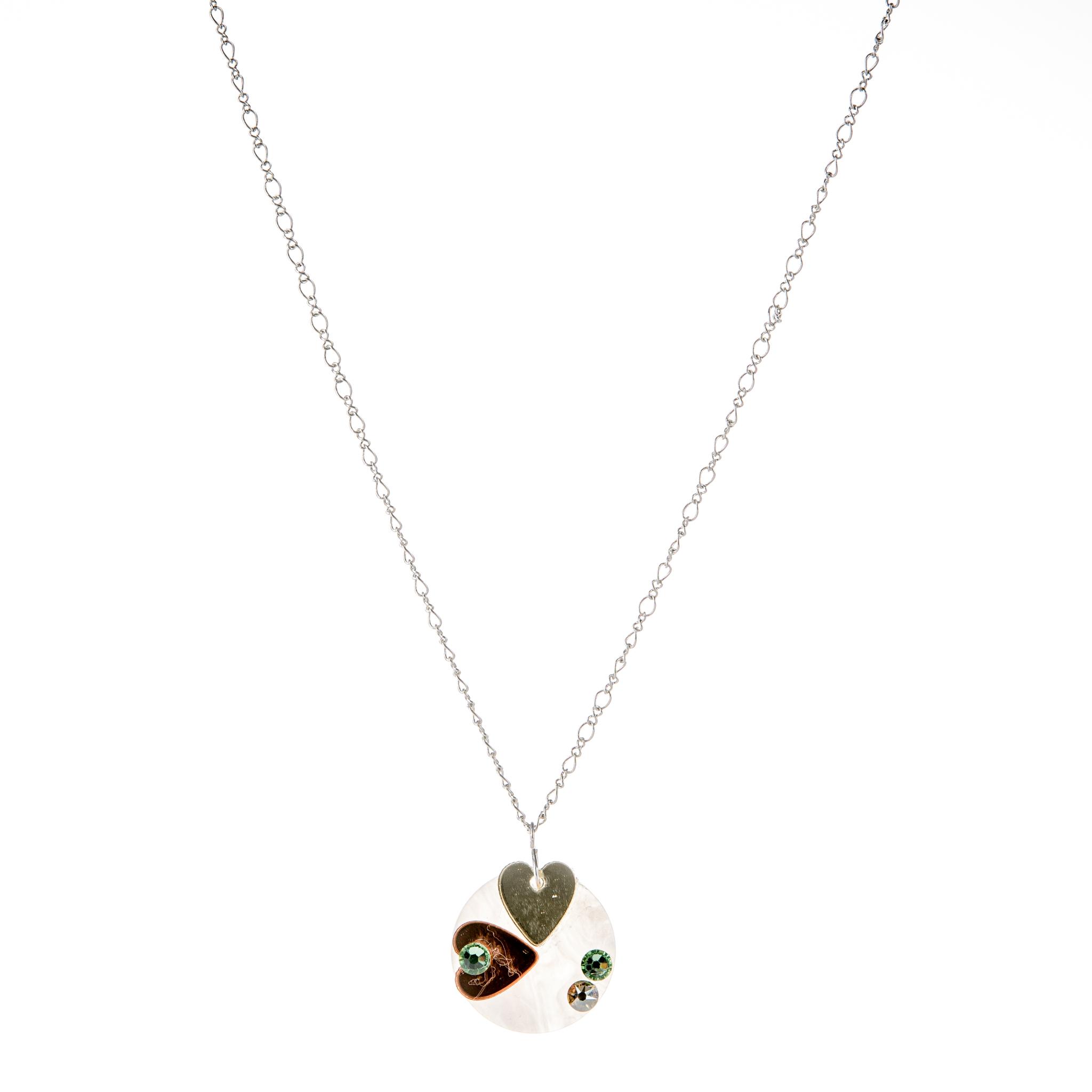 Κολιέ με Πλέξι Ακτυλικές Καρδιές και Πέτρες Swarovski