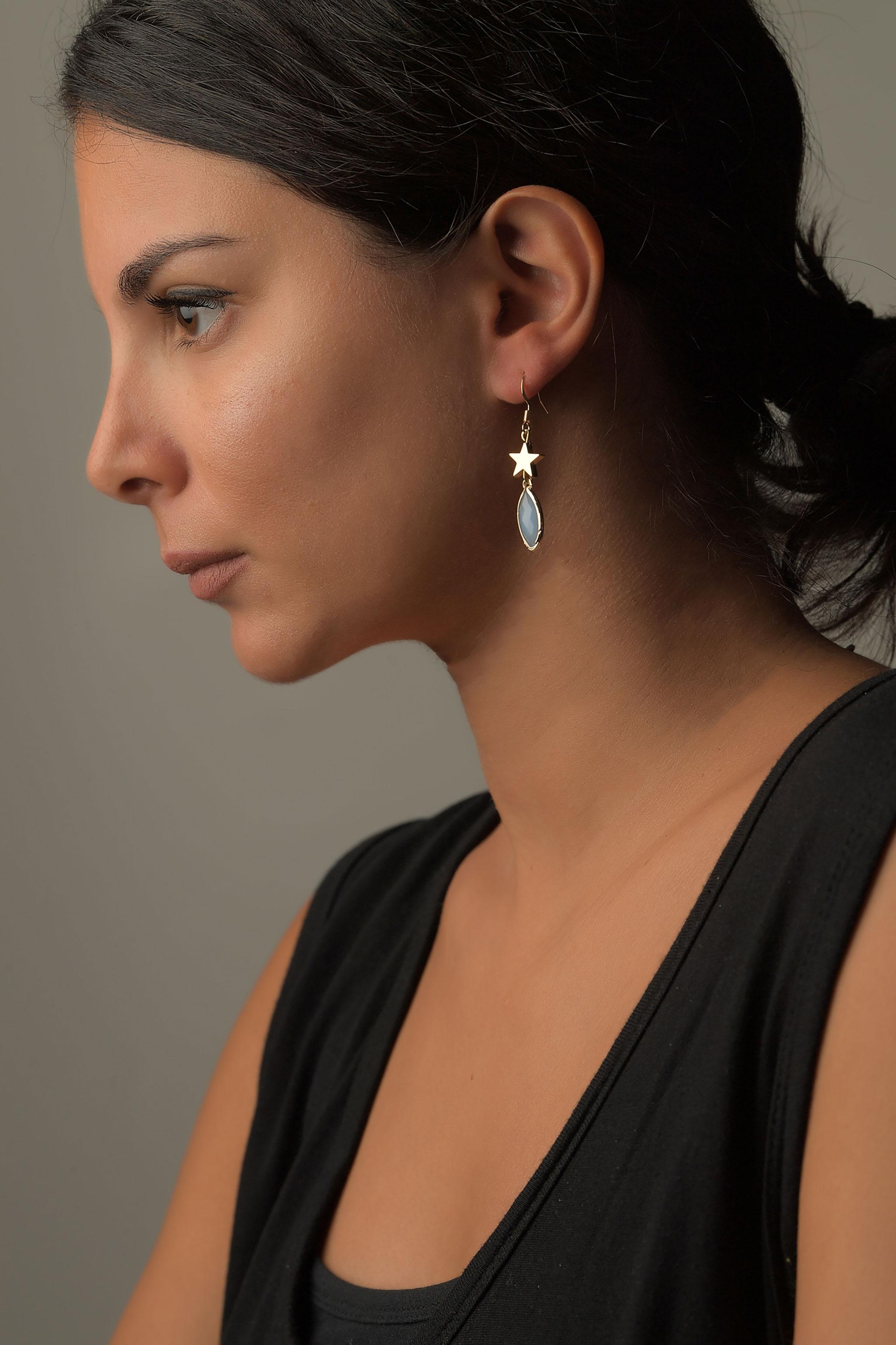 Σκουλαρίκια με Γυάλινη Πέτρα1