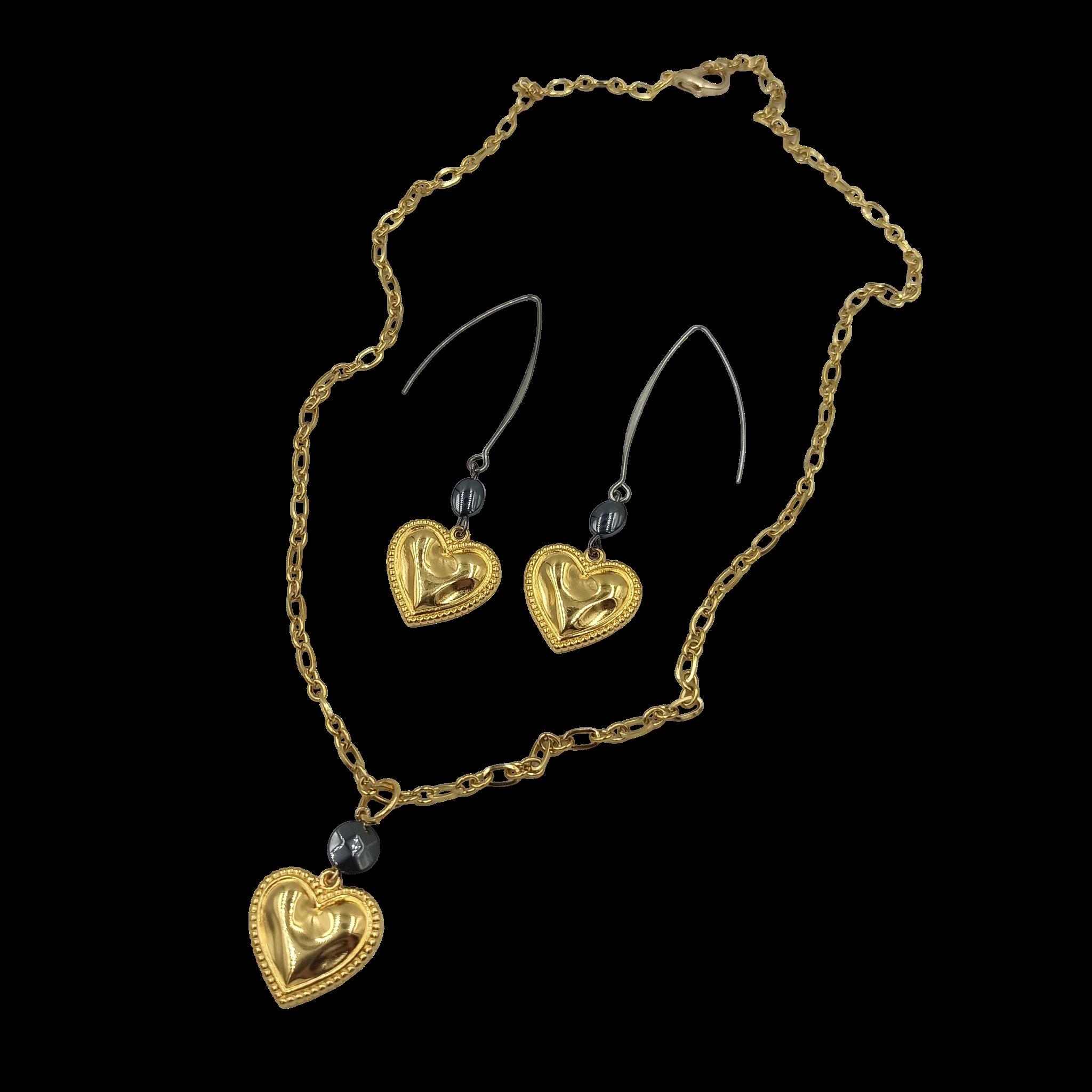 Σκουλαρίκια Μακριά Χρυσή Καρδιά1